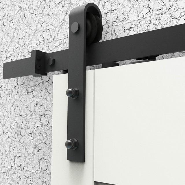 6 6ft fermeture douce antique noir acier coulissante en bois de grange quincaillerie de porte. Black Bedroom Furniture Sets. Home Design Ideas