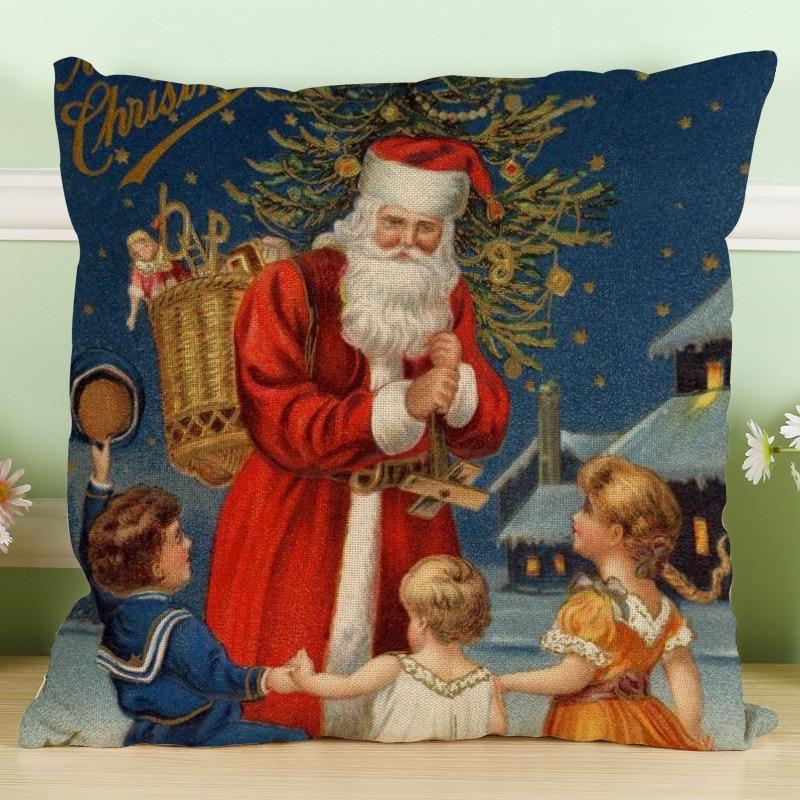 2017 Cushion Cover Funda Cojin Amazon Ebay Aliexpress Adicolo Christmas Santa Claus Seat Chair Cushion Cotton Pillowcases Hold
