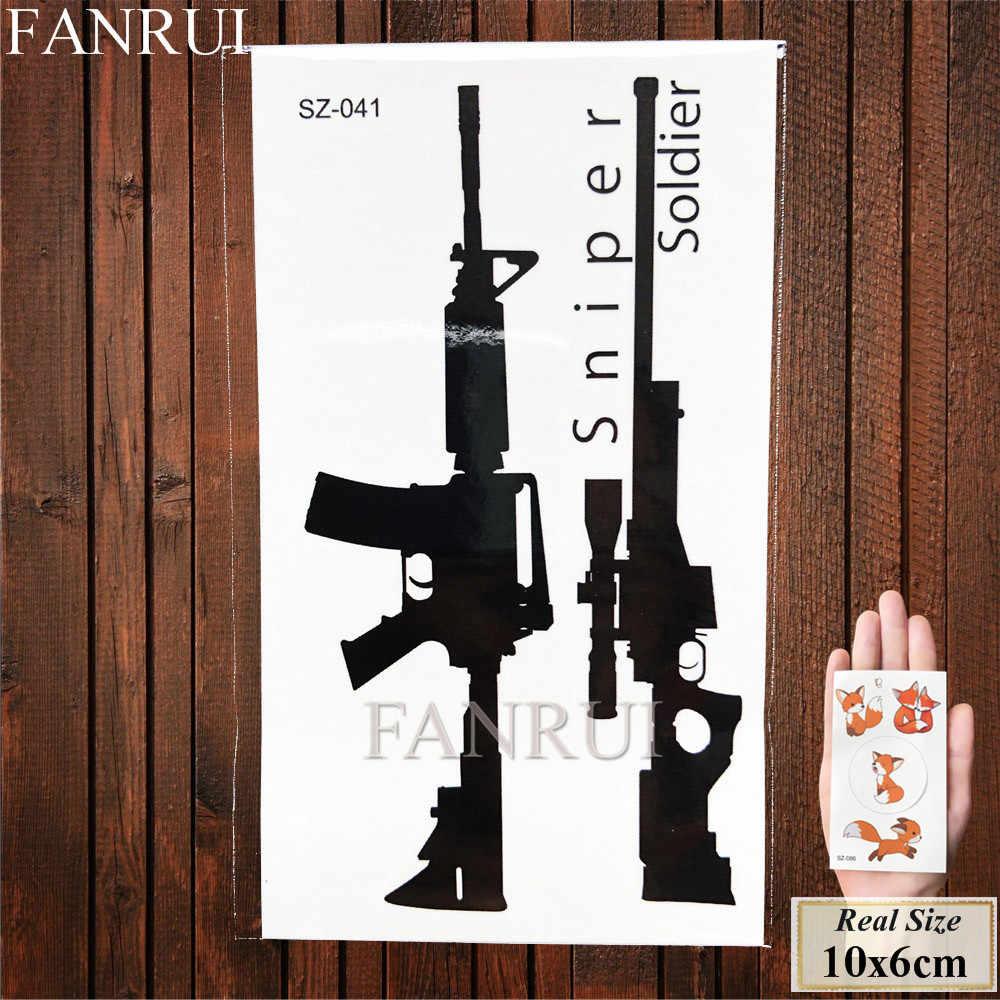 Fanrui Seksi Gun AK47 AK Sementara Tato Pria Lengan Medan Pertempuran Pubg Seni Senjata Tato Stiker Wanita Fake Tahan Air Tato