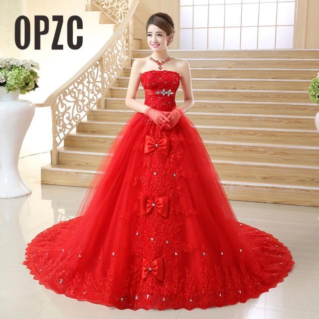 VINTAGE VINTAGE ลูกไม้สีแดงชุดแต่งงาน 2020 รถไฟยาว Plus Size vestidos de noiva Robe de mariage เจ้าสาวชุดบอลชุด