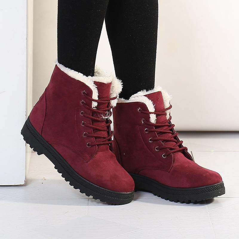 Image 3 - Женские зимние сапоги, зимние теплые женские сапоги, большие размеры, обувь на плоской подошве со шнуровкой, Женская хлопковая обувь на толстом меху, большие размеры 35 44, WSH2461-in Теплые сапоги from Обувь