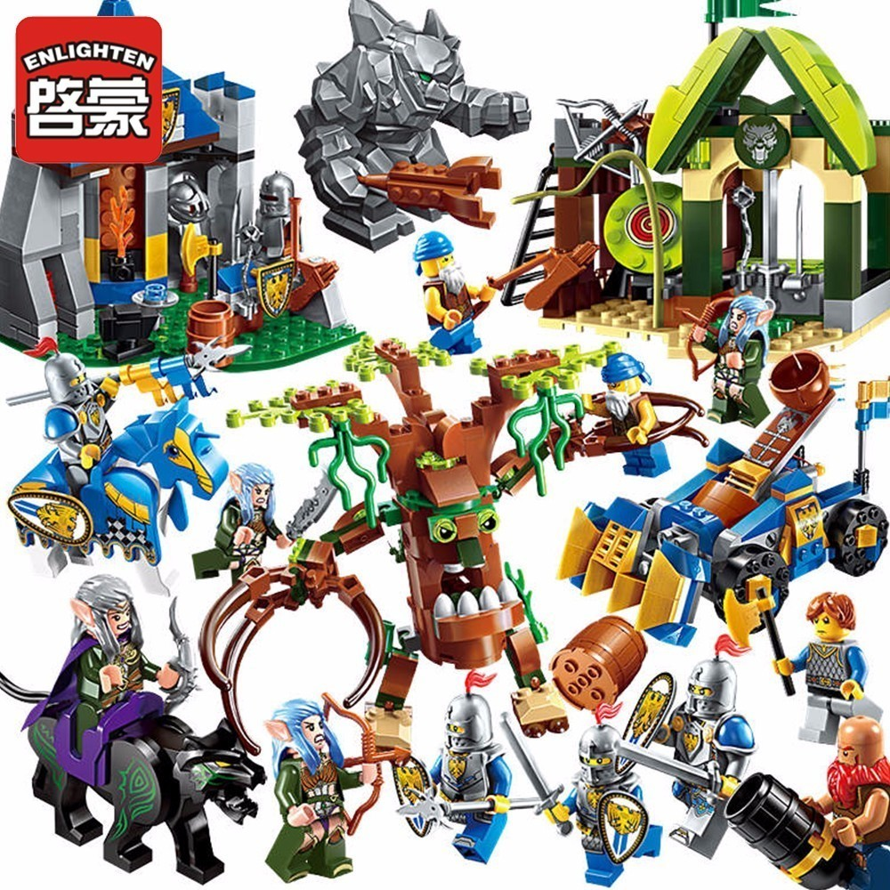 Enlighten Glory War Educational Building Blocks Toys For Children Gifts Castle Knight Heros Weapon Elf Tree Compatible lepin enlighten new 2315 656pcs war of glory castle knights the sliver hawk castle 6 figures building block brick toys for children