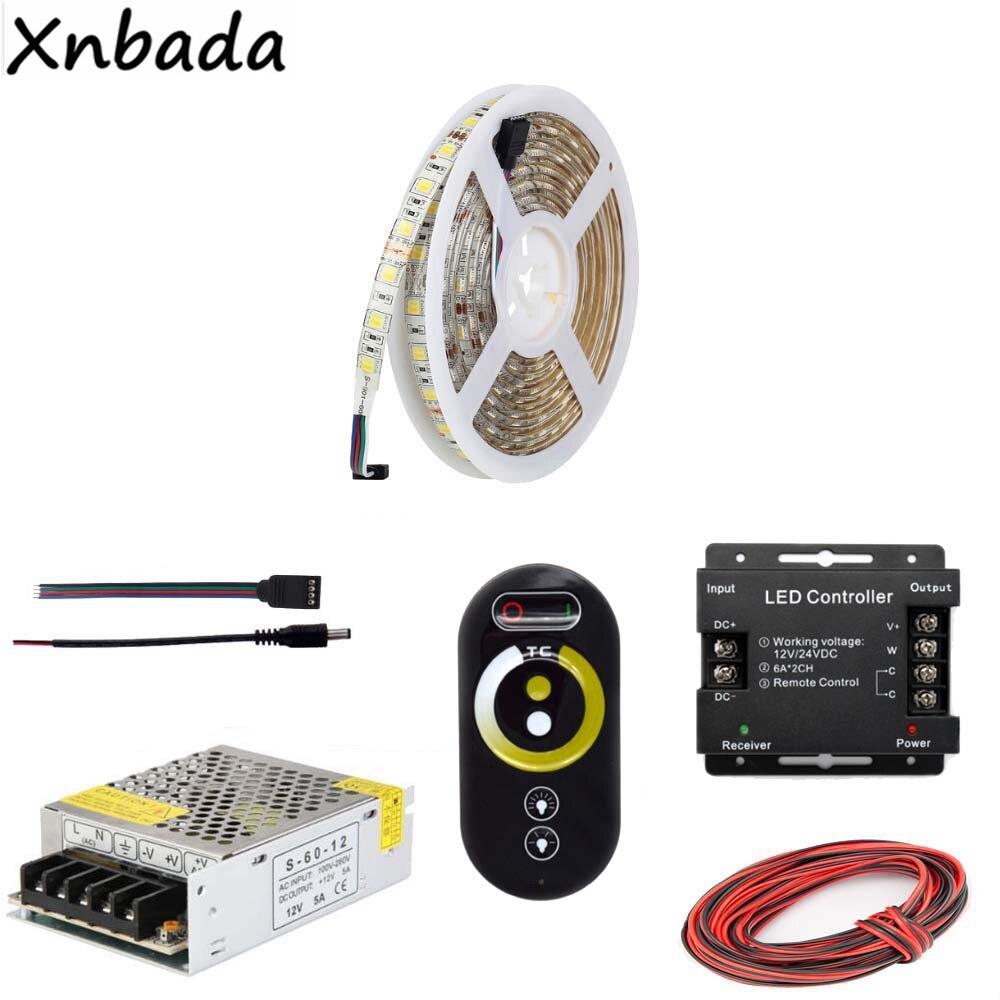 5~20M SMD5050 Led Strip Color Temprature Flexible Light,Remote RF CCT Led Controller Power Supply Kit