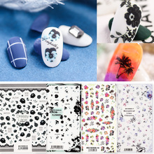 Newest WG-0805 dressy lace design 3d nail sticker self adhesive decal decoration for art