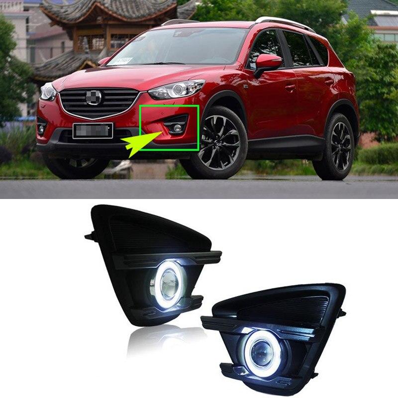 Ownsun COB Angel Eye Rings Projector Lens with 3000K Halogen Lamp Source Black Fog Lights Bumper Cover For Mazda CX-5 2013-2015 oem fog lights halogen lamp kit for 2016 mazda cx 5 ka0h v4 600