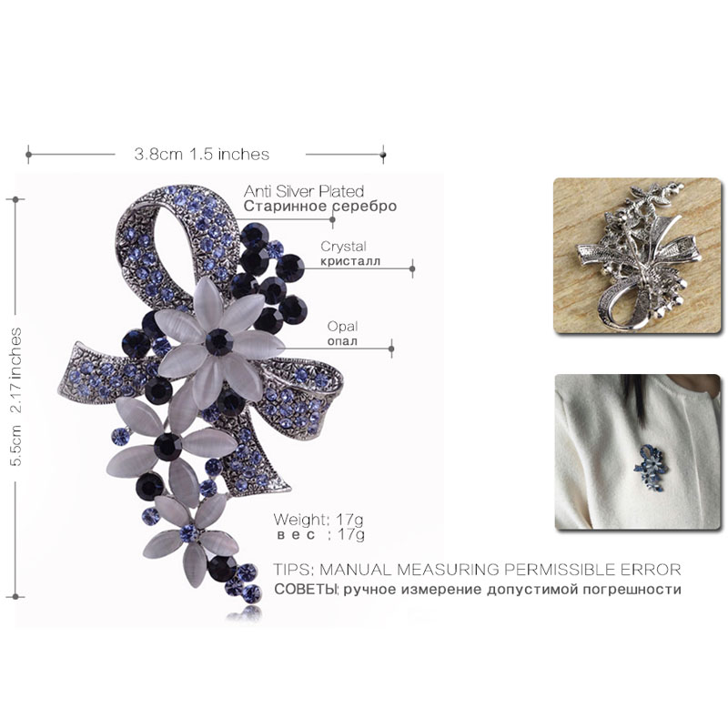 Madrry Pretty Elegant Antique Silver Color Flower Brooches with Opal Full Crystals Broches Scarf Pin Accessories Bouquet Wedding 6