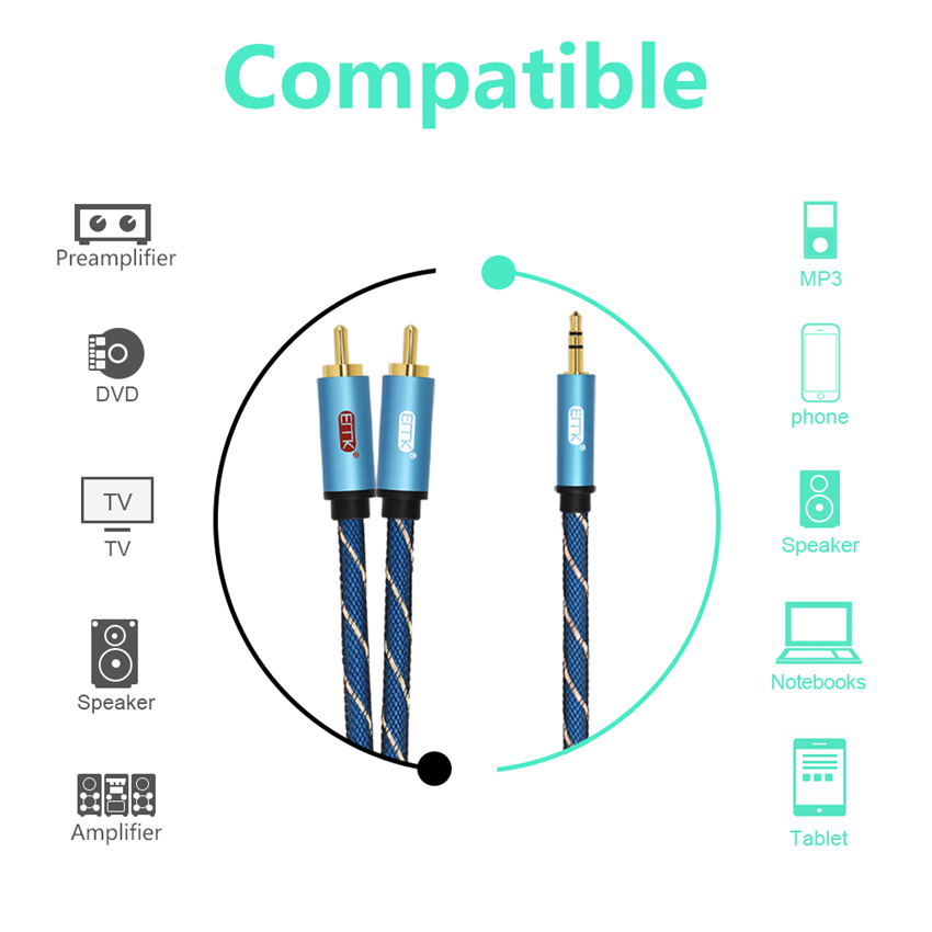 EMK RCA Cable 2RCA to 3 5 Audio Cable RCA 3 5mm Jack RCA AUX Cable for DJ Amplifiers Subwoofer Audio Mixer Home Theater DVD