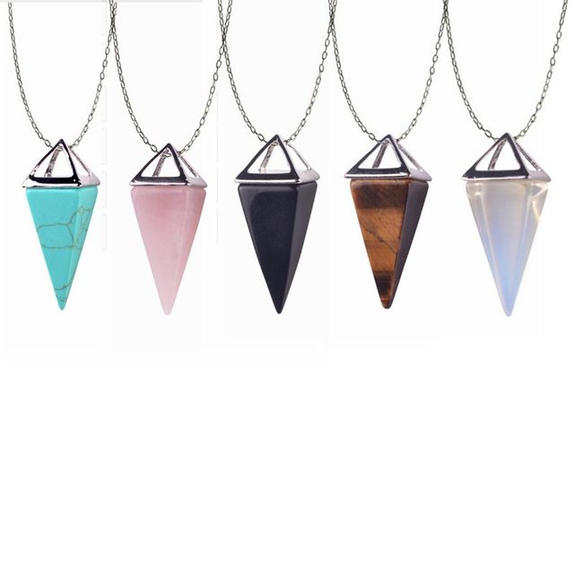 Healing crystal necklace real pyramid necklace marble howlite healing crystal necklace real pyramid necklace marble howlite pendulum amulet golden opal gem stone necklace aloadofball Image collections
