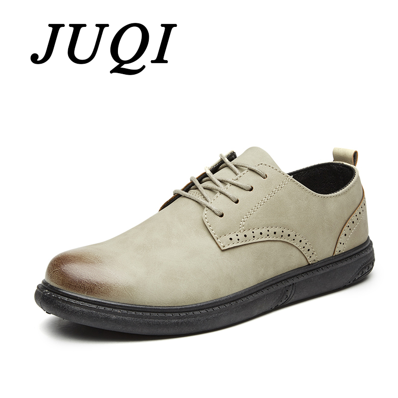 JUQI Spring Autumn Artificial Pu Men Casual Shoes Mens Oxfords Leather Basic Dress Formal Brogue Party Wedding shoes