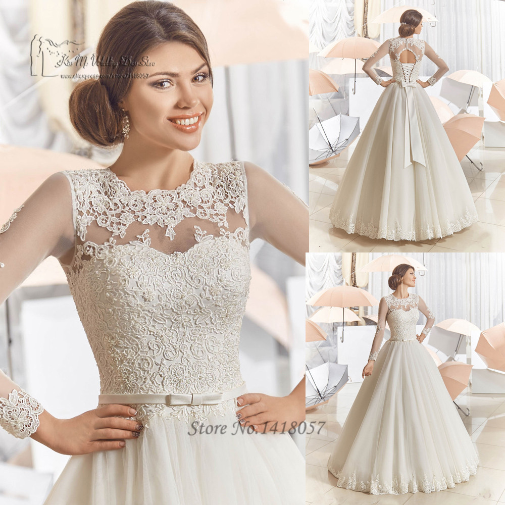 Vintage long sleeve lace wedding dresses floor length 2016 for Lace wedding dresses plus size