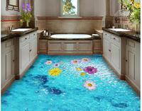 waterproof wallpaper for bathroom wall Bathroom toilet sea surface floating 3D floor