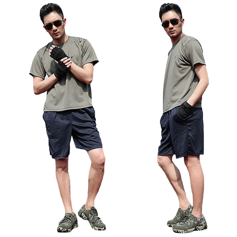 Summer Army Military Tactic Fitness T Shirts Suits Men Cargo Breathable Tops Casual Tees SWAT Police Short-sleeve Quick-drying