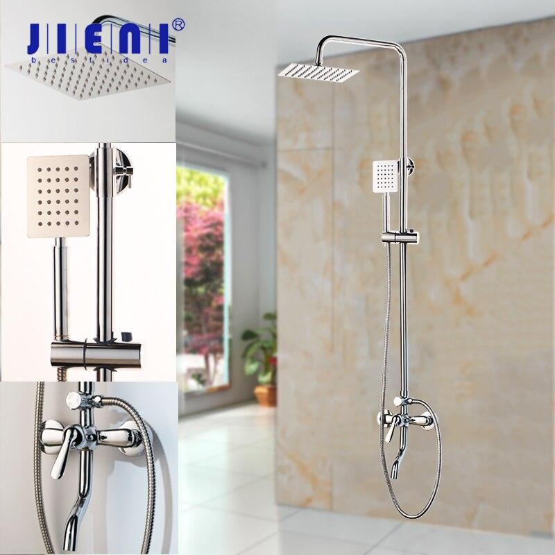 JIENI 8 Inch Chrome Polish Rainfall Wall Mount Ultrlthin Shower Head Mixer Faucet Bathroom Adjust Height
