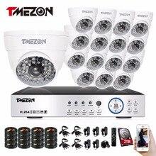 Tmezon AHD 16CH DVR 16pcs 1080P Camera Security Surveillance CCTV System Auto IR-Cut Night Vision Up to 40m 1TB 2TB HDD Kit