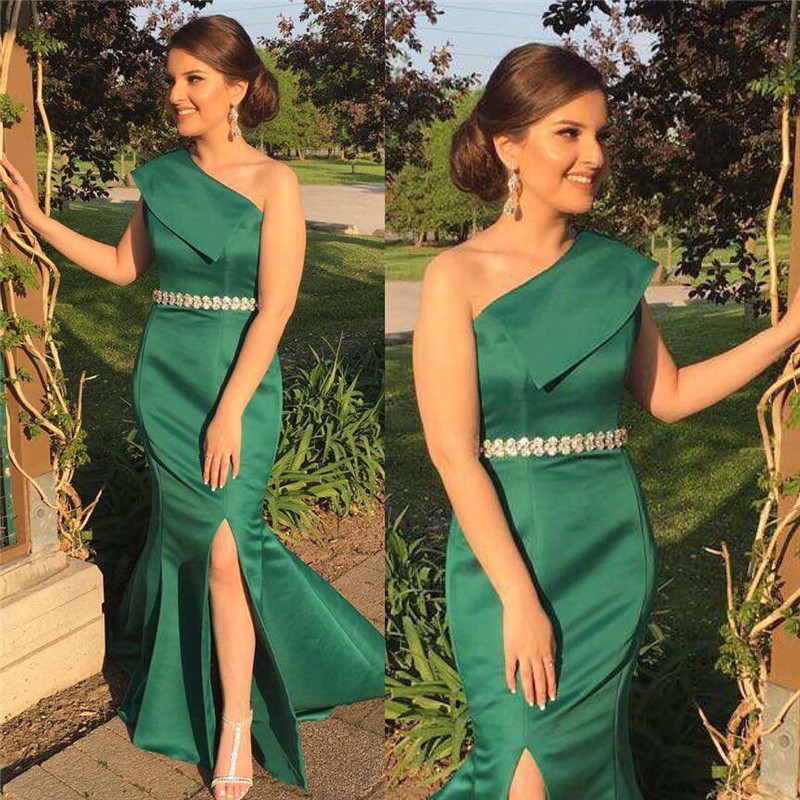 Dark Green Mermaid   Bridesmaid     Dresses   2019 New Sexy Split Long   Dress   For Wedding Party One Shoulder Africa Wedding Guest   Dress