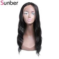 Sunber парик фронта шнурка 130% плотность натуральные волосы парики предварительно сорвал с волосами младенца 16 24 дюймов remy волосы волнистые па