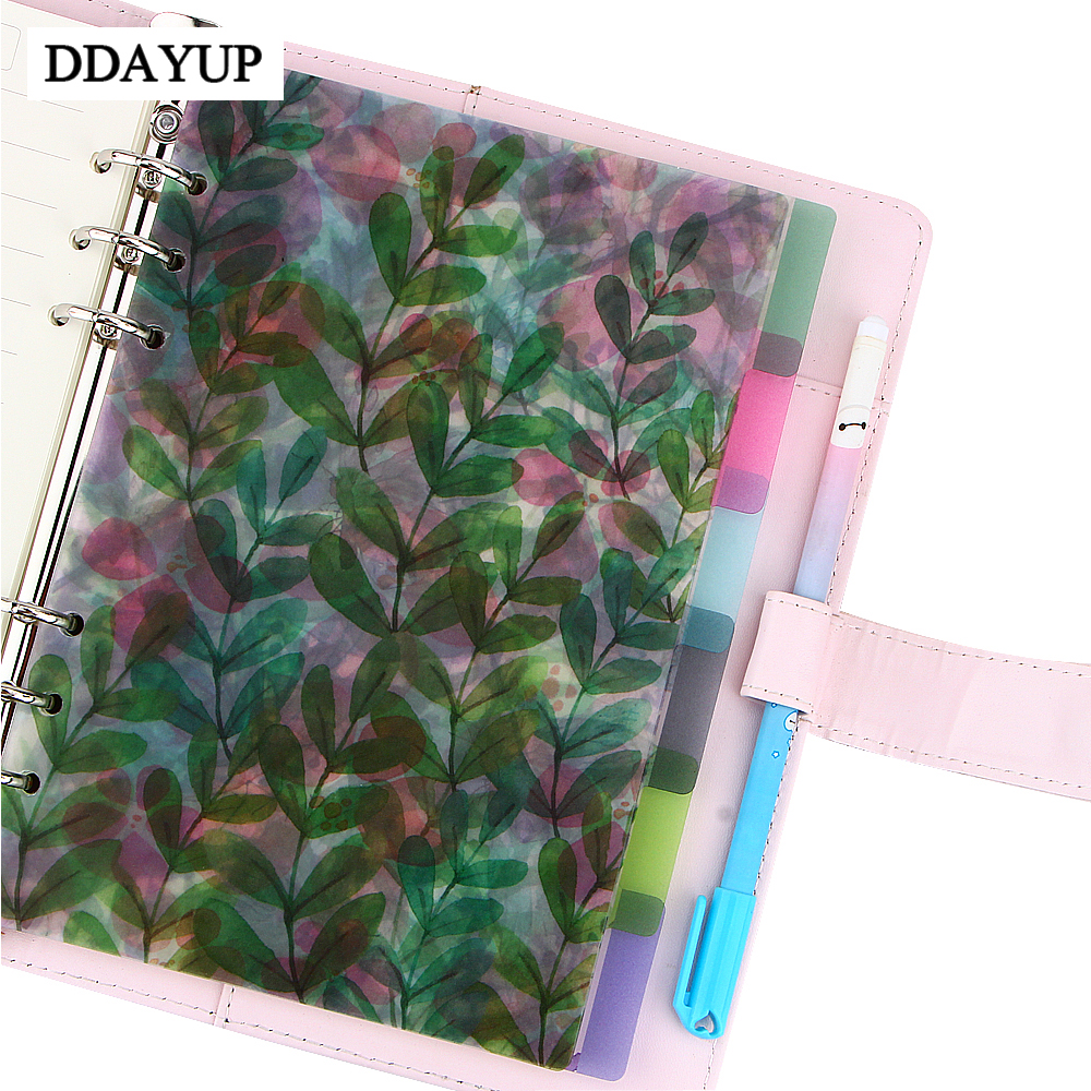 A5/A6/A7 6 Holes Colored index Page Spiral Book Loose Leaf Notebook Category Page Office Planner Accessories macy gray page 6