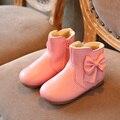 2016 Outono Inverno Meninas botas de neve Crianças meninas princesa sólidos cor grande Arco com pelúcia quente botas curtas de couro da moda botas