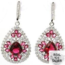 10.1g Real 925 Solid Sterling Silver Long Big Pink Raspberry Rhodolite Garnet CZ Ladies Earrings 48x22mm