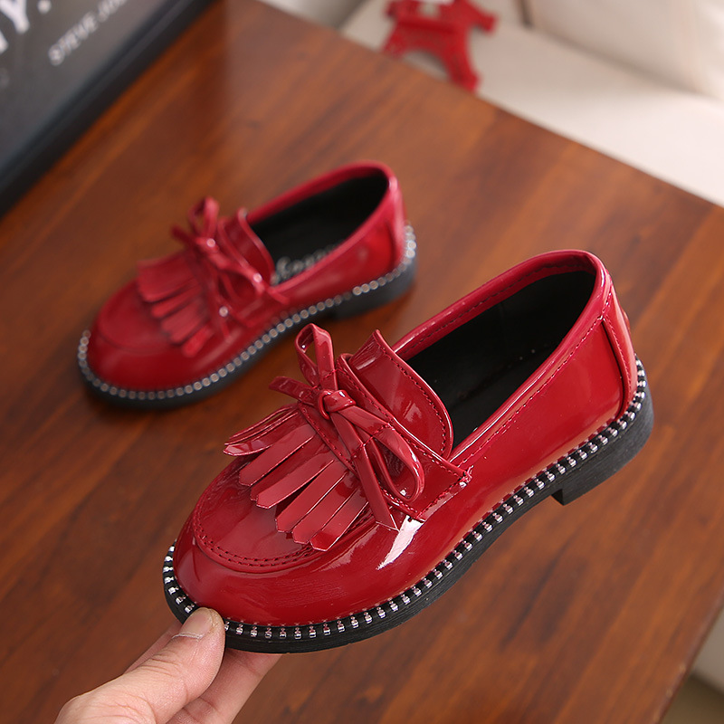 2018 Spring Autumn Children Shoes for Girls Leather Shoes Fashion Solid Color Tassel Bow Girls Shoes Princess Sneakers PU B06211