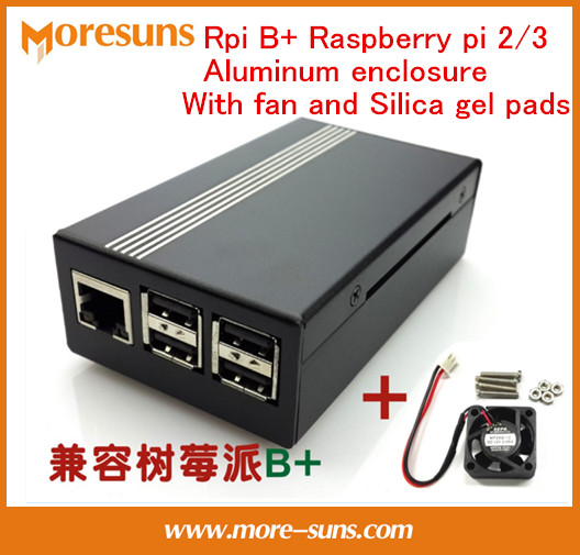 Fast Free Ship 5PCS/LOT 105mm*60mm*32mm Raspberry Pi 3 Aluminum Alloy Shell With Fan  Rpi B + Raspberry Pi 2 Aluminum Enclosure