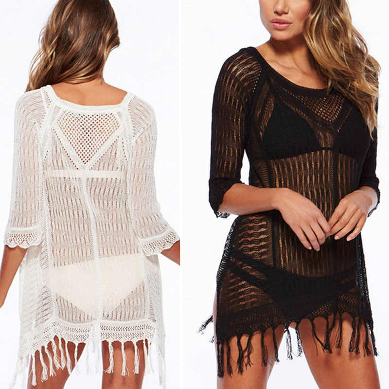 Sexy Women Bikini Beach Cover-up Swimsuit Mesh Beach Dress Tunic Robe Covers Up Bathing Suit Summer Beach Wear Pareo Swimwear
