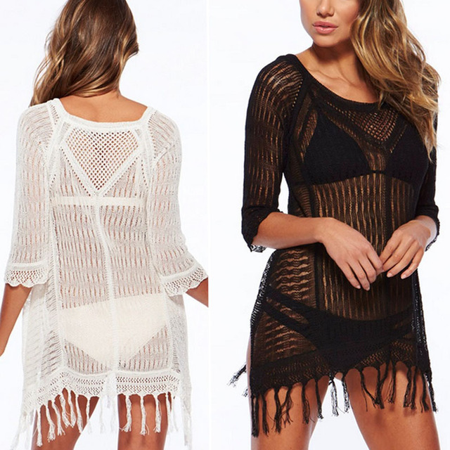 dc2d8b16b1b Sexy Women Bikini Beach Cover-up Swimsuit Mesh Beach Dress Tunic Robe Covers  Up Bathing