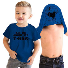 Camiseta de verano 2019 para niños, Camiseta con estampado de Animal, camiseta de chico s, ropa de Chico, dinosaurio enmascarado, Ask Me About My t-rex Fortnight Fornite(China)