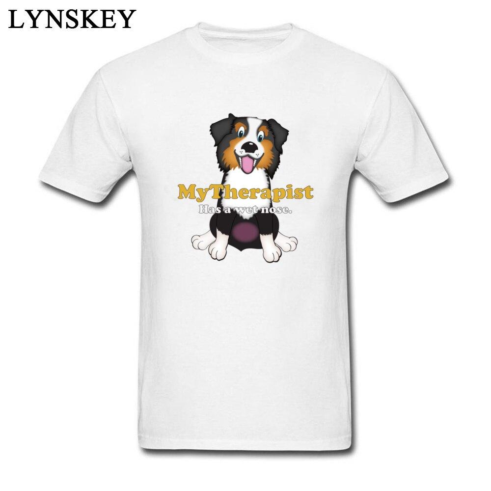 Мой терапевт имеет Мокрый нос Для мужчин пользовательские мультфильм футболка собачников весело Teeshirt милые дизайнерские Австралийская ов...