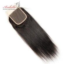 ברזילאי ישר סגירת תחרה 4x4 סגירת תחרה ישר רמי שיער 100% שיער טבעי ארבלה מראש קטף תחרה סגירה