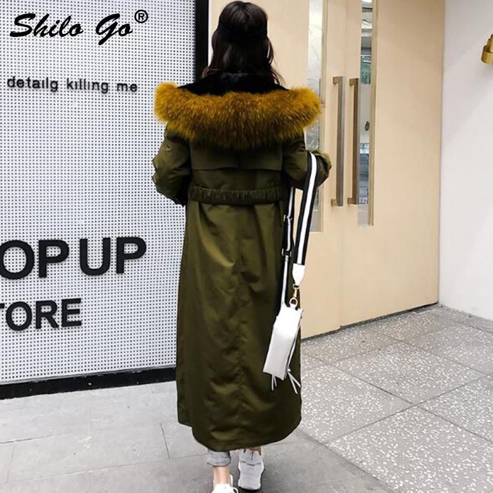 Capuche À Doublure Femmes Grande Manteau Fourrure Parkas Réel Outwear D'hiver Vert Col Épais X Armée Manteaux Lapin Taille long De Ceinture SZSawrUn8