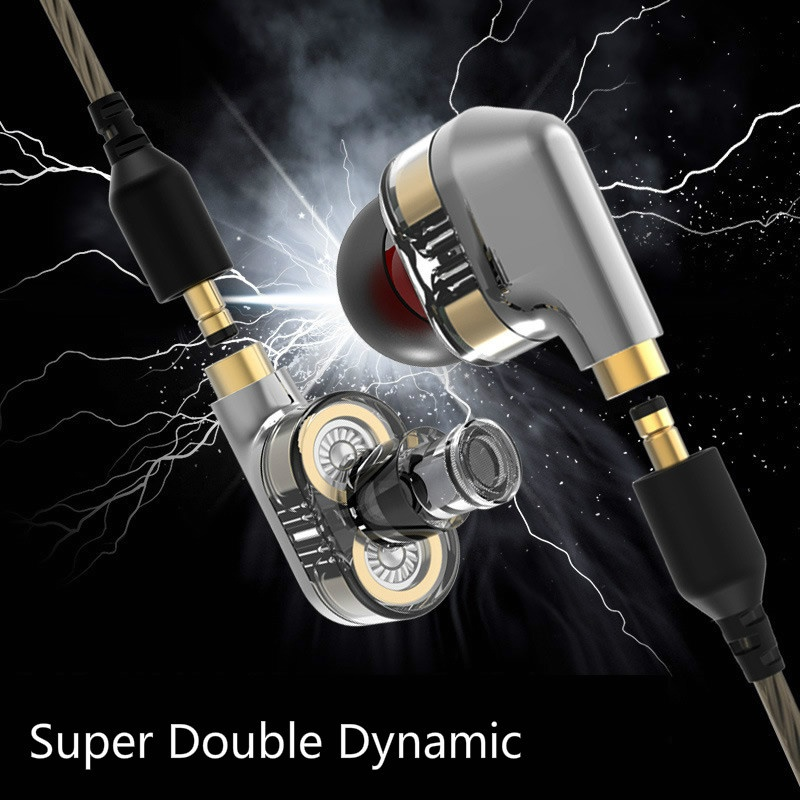 Double Dynamic In Ear Earphone Noise Cancelling Sports Headphones HIFI Super Bass Music Headset Ear buds for iPhone 8 7 6 Xiaomi original senfer dt2 ie800 dynamic with 2ba hybrid drive in ear earphone ceramic hifi earphone earbuds with mmcx interface