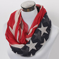Free shipping  ladies'   USA flag print   American flag star striped infinity scarf  Women's loop scarf Accessories Gift Idea