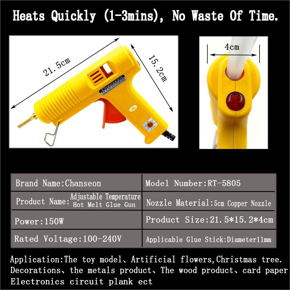 Pistol cu lipici fierbinte 150W 11mm lipici stick Adeziv de - Scule electrice - Fotografie 3