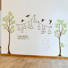 Family Trees DIY Photo Frame Flying Birds Wall Stickers pvc art Decals Mural Home Decor living room Bedroom decorations sticker(China)