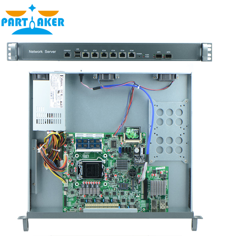 G2010 CPU 1000M 6 82574L 2 Groups Bypass 2 82580DB Fiber Ports 1U Router with Rack