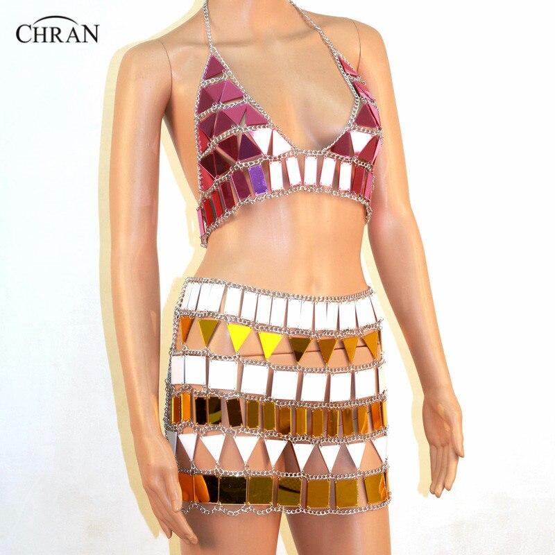 Chran WHP Perspex Rave haut Sonus Festival chaîne soutien-gorge harnais collier corps ventre ceinture jupe EDC tenue porter Bikini EDM bijoux