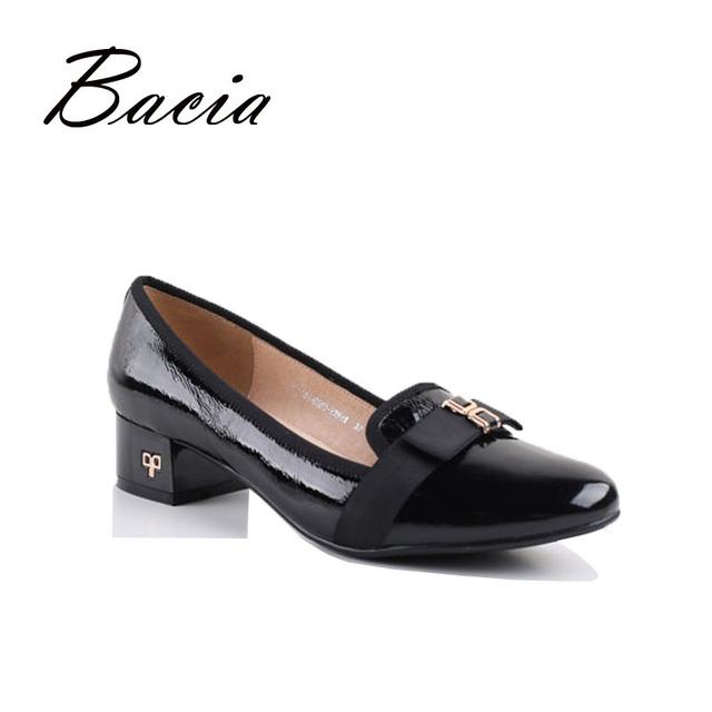 Bacia primavera verão genuína sapatos de couro mulheres patente rodada toe deslizamento em bombas feminino sapato de couro sapato casual 2016 va013