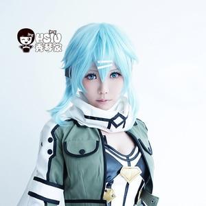Image 2 - HSIU 40cm Short Ice blue wig Sword Art Online Cosplay Wig Sinon/Asada Shino Costume Play Wigs Halloween party Anime Game Hair
