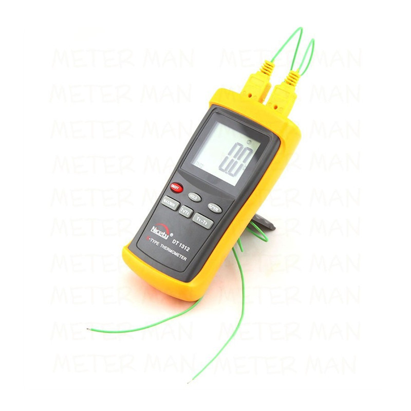 Digital LCD Industrial Thermometer Two Channel 1370C 2498F K-Type Digital Thermocouple Sensor DT1312