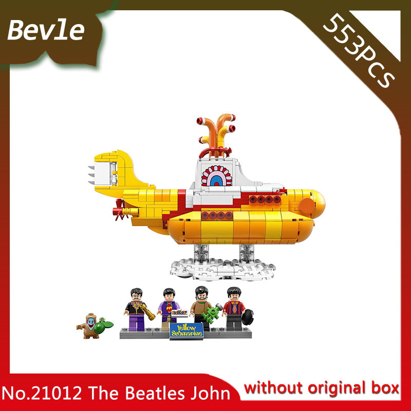 Bevle Store Lepin 21012 553pcs with original box Technic Series beatles yellow submarine Building Blocks For Children Toys 21306 lepin 21012 builder the beatles yellow submarine with 21306 building blocks bricks policeman toys children educational gift toys