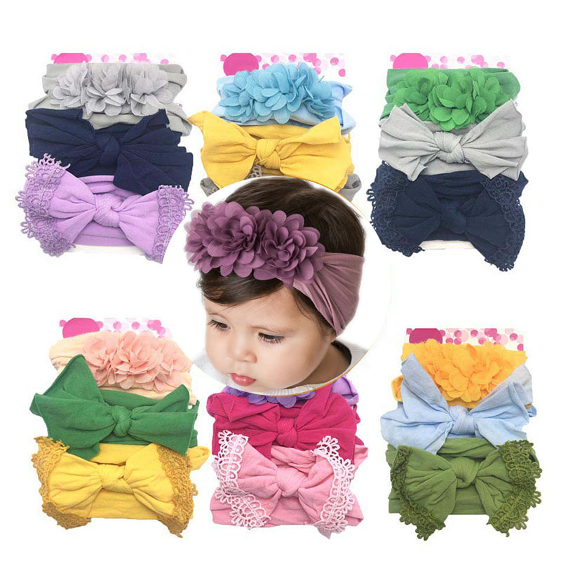 3 Pcs Baby Chic Headband Crown Flower Bows Girl Newborn Elastic Baby Hair Band