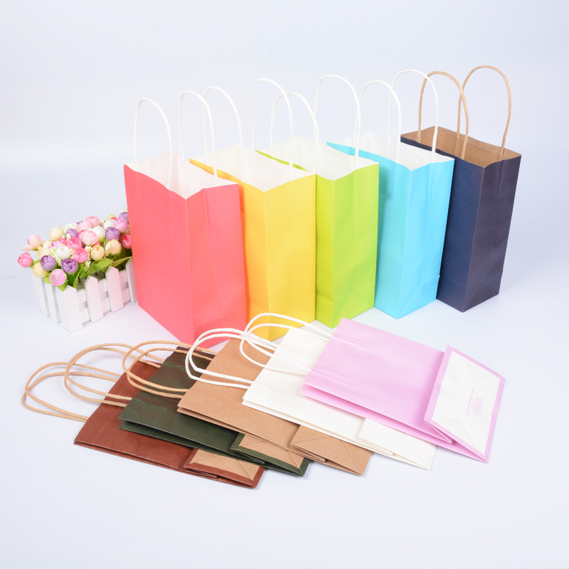 Mulit-size Color Gift Paper Bag with Handle Party Gift Bag Wedding Candy Bag Shopping Bag Packaging for Clothing