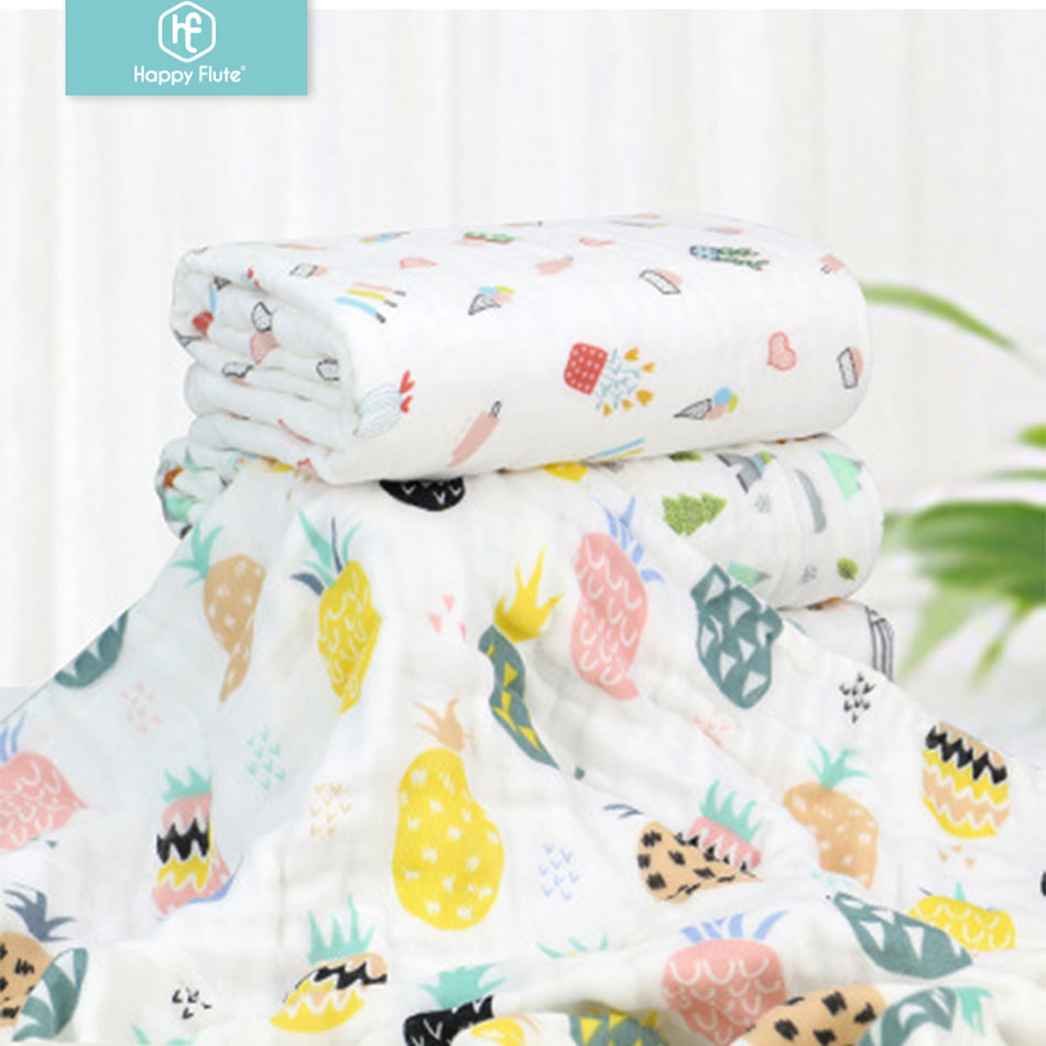 Happy Flute 1Pcs 6 Layers Muslin 100% Cotton Baby Swaddles Soft Newborn Blankets Gauze Infant Wrap Sleepsa
