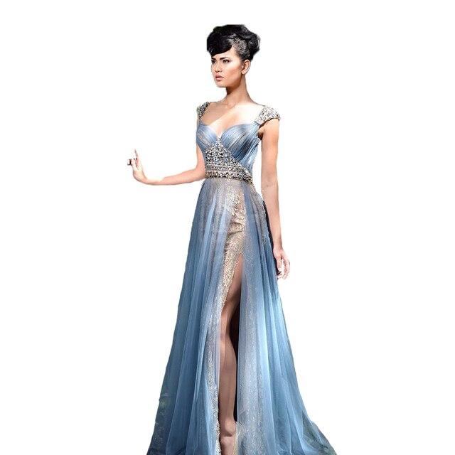 2017 licht Blau Abendkleid Plus Size Abendkleider Lange mit Slit ...
