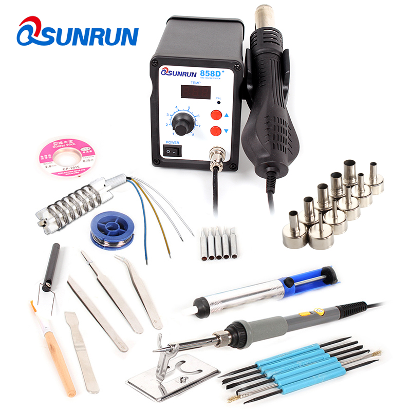 110v/220v 858D+ Digital Hot Air Rework Station With Soldering Iron Gun Welding Mobile Phone Repair Dedicated For Welding