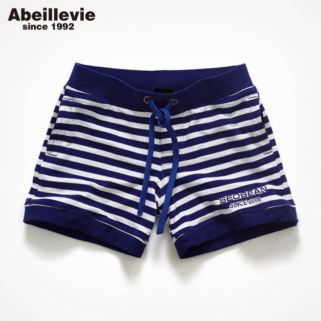 Abeillevie New Fashion Cotton Men's Jogger Shorts Leisure Short With Pocket Casual Striped Elastic Waist Men Lounge Shorts PF072