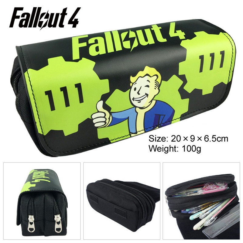 1pc/lot Fallout 4 Pen Bags Games PencilBags Double Zippers Black Pencil Bag White Stationery Pens Container School Supplies 20cm