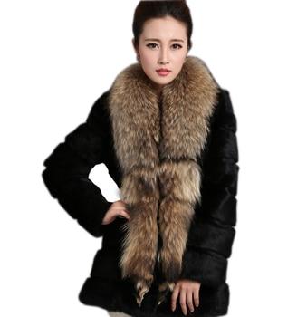 Fashion women's real rabbit fur winter jacket coat natural raccoon  fur collar long coat outwear warm winter large size