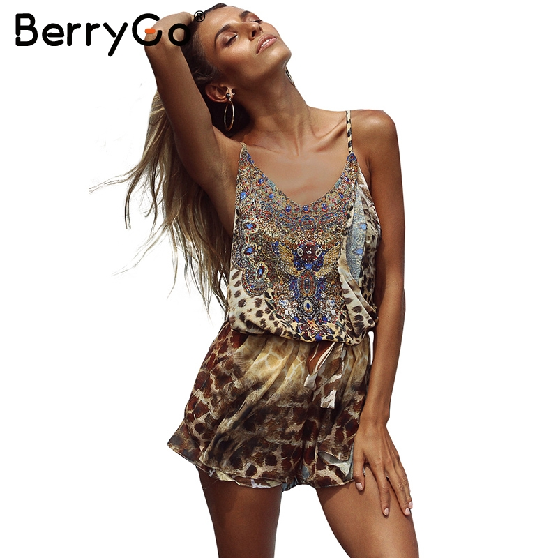 BerryGo Leopard print brown jumpsuits romper Women backless strap chiffon playsuit Summer beach sexy sleeveless overalls